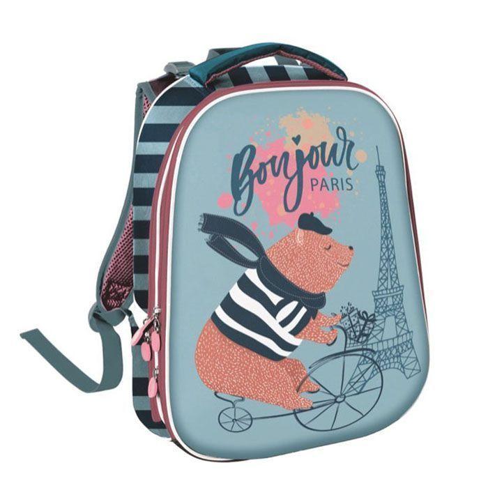 Рюкзак Schoolformat КАНИКУЛЫ В ПАРИЖЕ, модель ERGONOMIC +, жесткий каркас, двухсекционный, 38х30х20 см, 17 л, для девочек