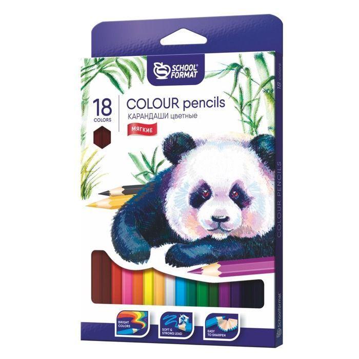 Набор цветных карандашей ANIMALS 18 цветов шестигранные, дерево
