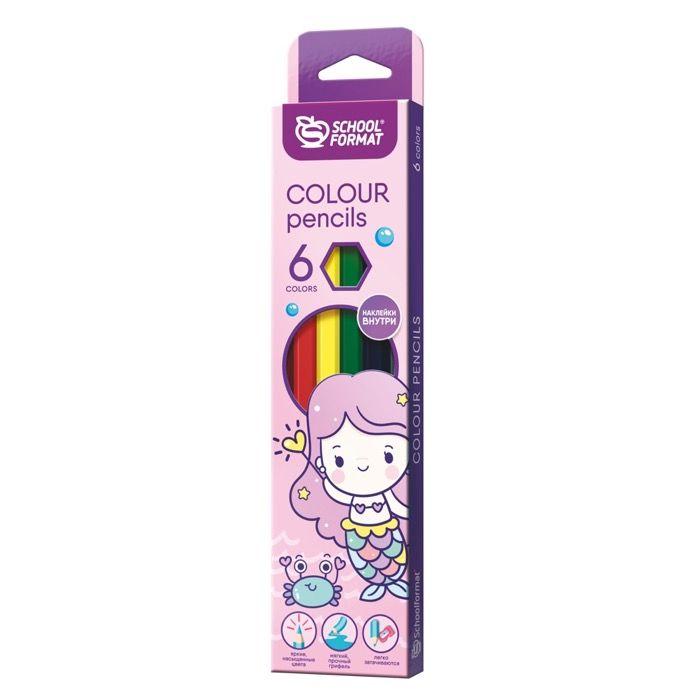 Набор цветных карандашей CUTE MERMAIDS 6 цветов, шестигранные, дерево, с наклейкой