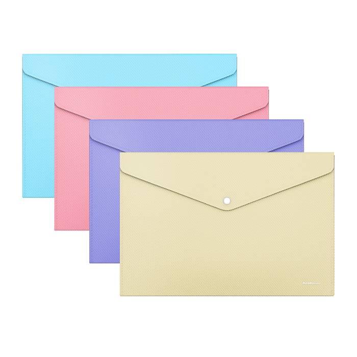 Пластиковый конверт, ErichKrause DIAGONAL PASTEL, А4, на кнопке, непрозрачный, пластик, 180 мкм, ассорти