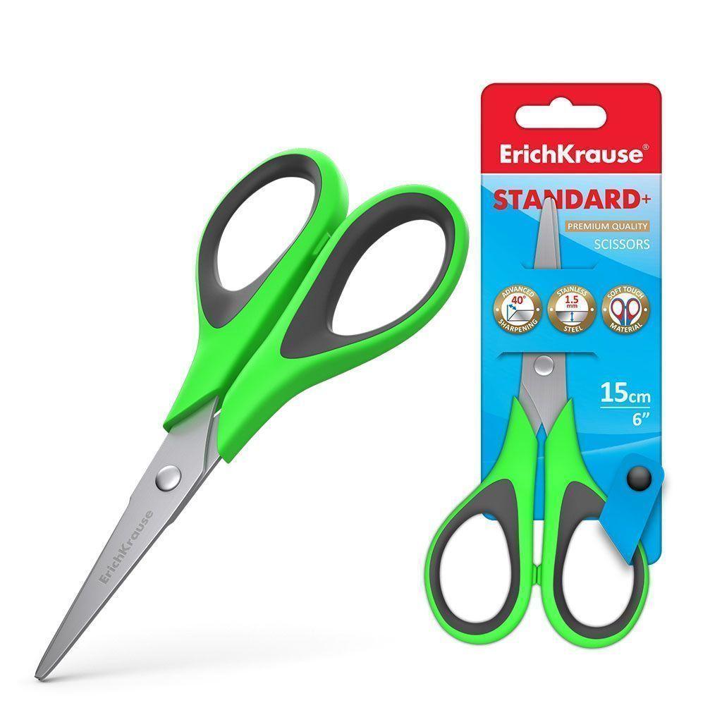 Ножницы ErichKrause® STANDARD 170 мм, с эргономичными прорезиненными ручками, ассорти