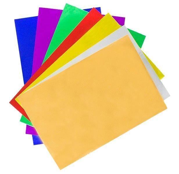 Фольга односторонняя, 3+ ,А4,7 л, САМОКЛЕЮЩАЯСЯ АССОРТИ, 7 цветов, 200 г/м2, в папке, ассорти, 200 г/м2