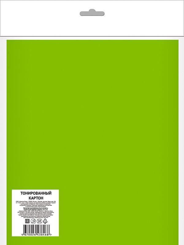 Картон цветной тонированный АССОРТИ А4, 8 цветов 8 листов, 190 г/м2