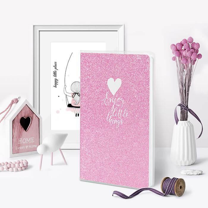 Книжка записная, B6, 80 л., клетка, LOREX SPARKLE, обложка ПВХ, глиттер, розовый