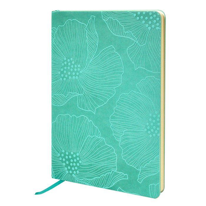 Ежедневник, А5, 136 л., недатированный, inФОРМАТ FLORAL ЦВЕТОЧНЫЙ УЗОР, твердая обложка, зеленый, ляссе, тонированная бумага