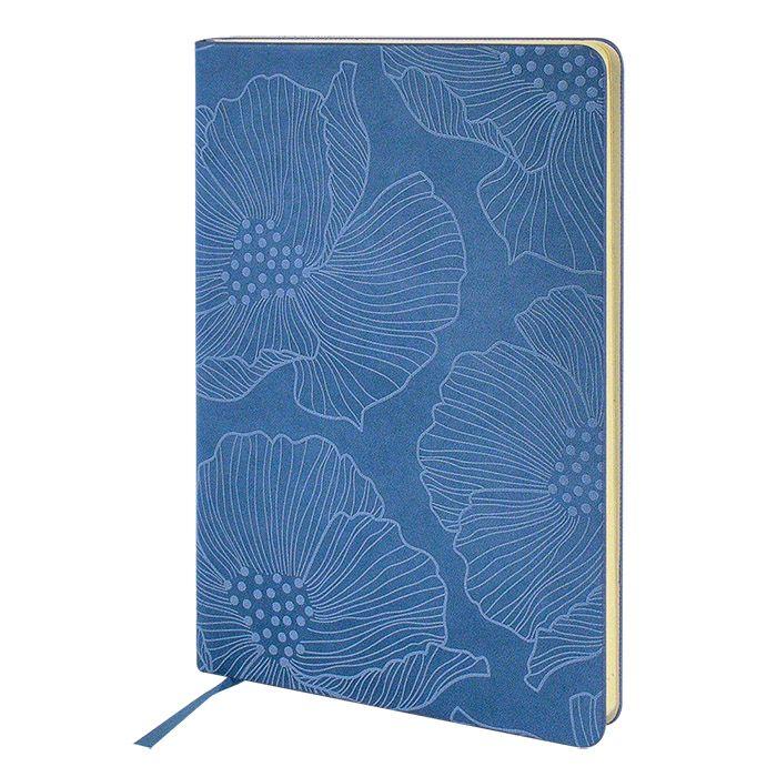 Ежедневник, А5, 136 л., недатированный, inФОРМАТ FLORAL ЦВЕТОЧНЫЙ УЗОР, твердая обложка, голубой, ляссе, тонированная бумага