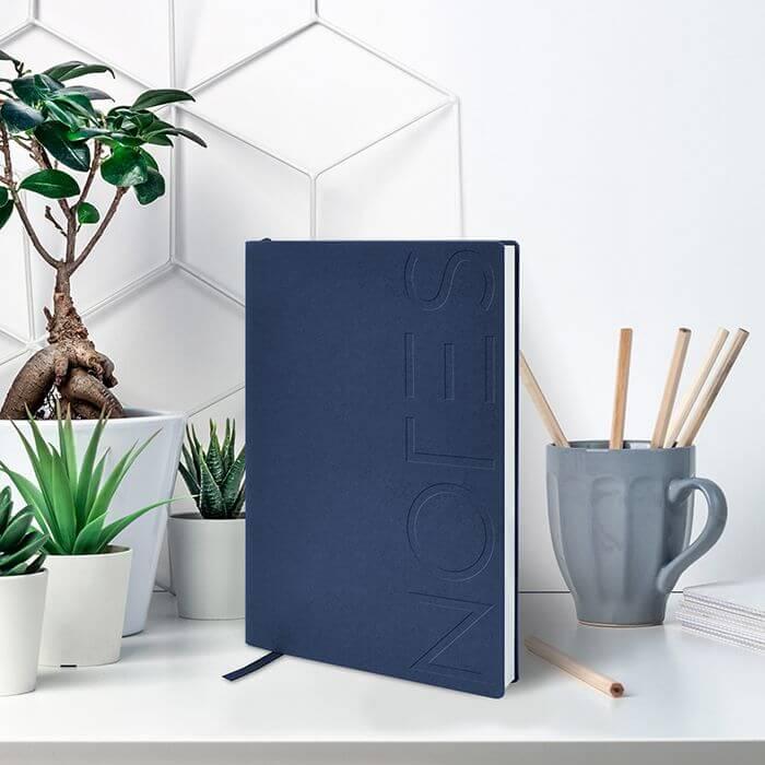 Блокнот B6, 128 л., линия, LOREX NOTES CLASSIC, синий металлик, полиуретановая обложка
