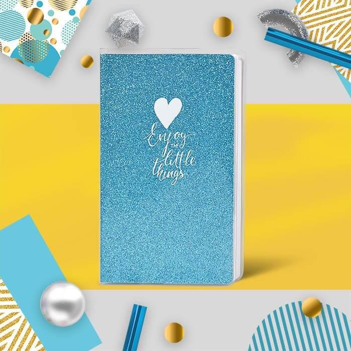 Книжка записная, B6, 80 л., клетка, LOREX SPARKLE, обложка ПВХ, глиттер, голубой