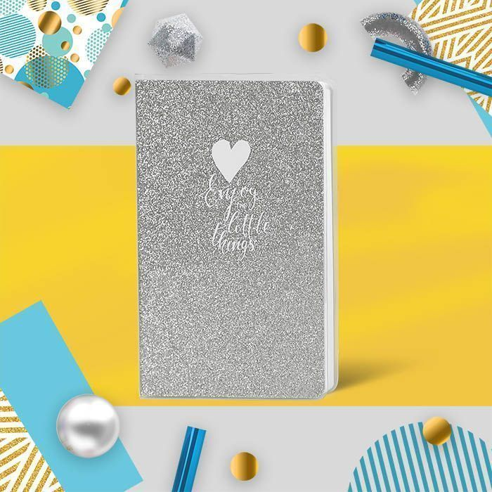Книжка записная B6, 80 л., клетка, LOREX SPARKLE, обложка ПВХ, глиттер, серебряный