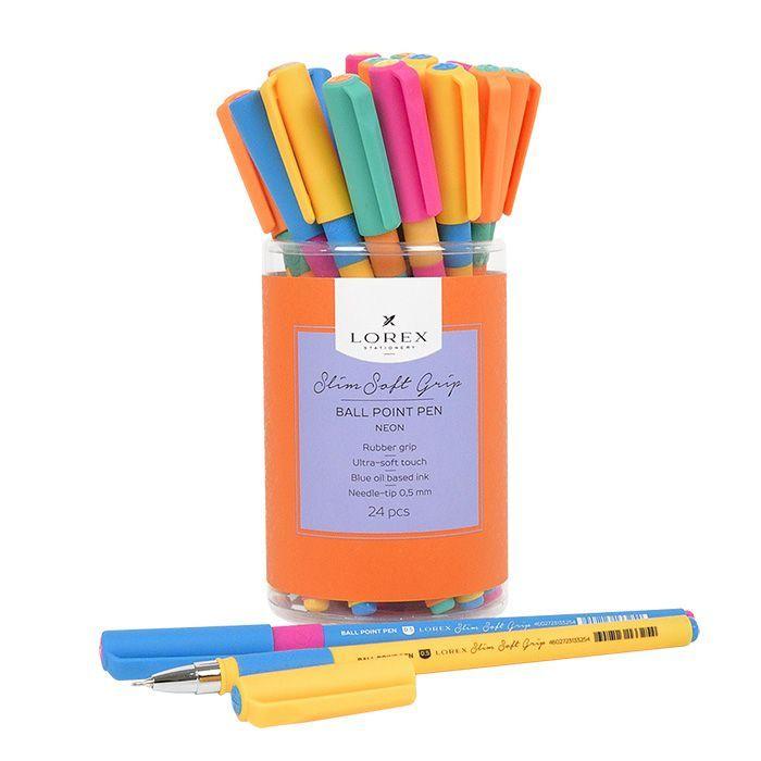 Ручка масляная LOREX NEON Slim Soft Grip синяя, резиновый грип, игловидный наконечник, 0,5 мм
