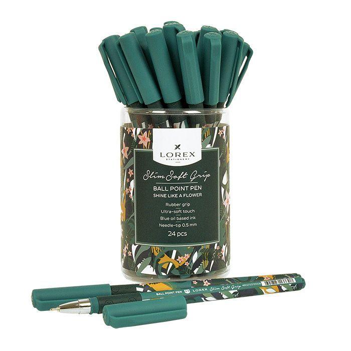 Ручка масляная LOREX SHINE LIKE A FLOWER Slim Soft Grip синяя, резиновый грип, игловидный наконечник, 0,5 мм
