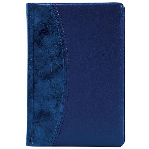 Ежедневник А5 датированный 176 л., ВИНТАЖ 2021г, твердая обложка, синий, ляссе