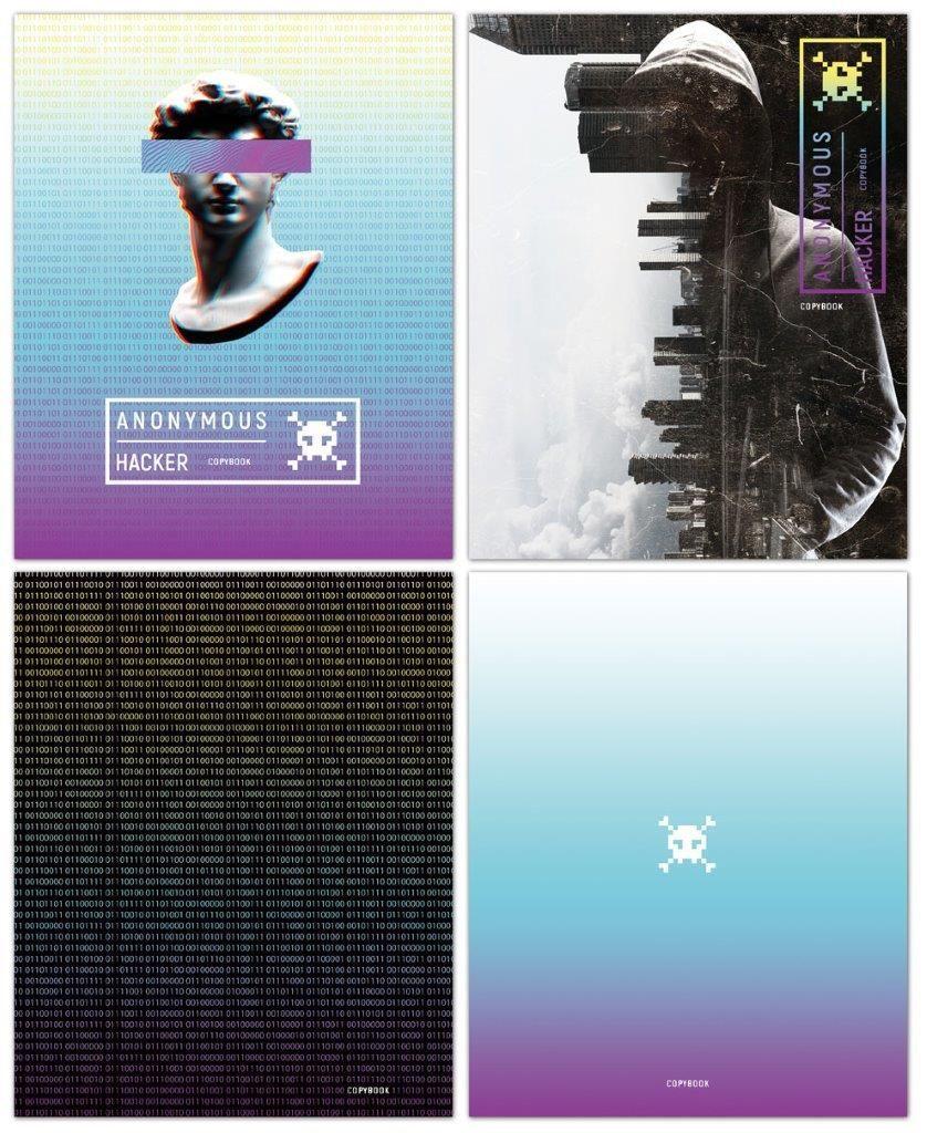 Тетрадь 96 л., А5, клетка, ANONYMOUS, мелованный картон, матовая ламинация