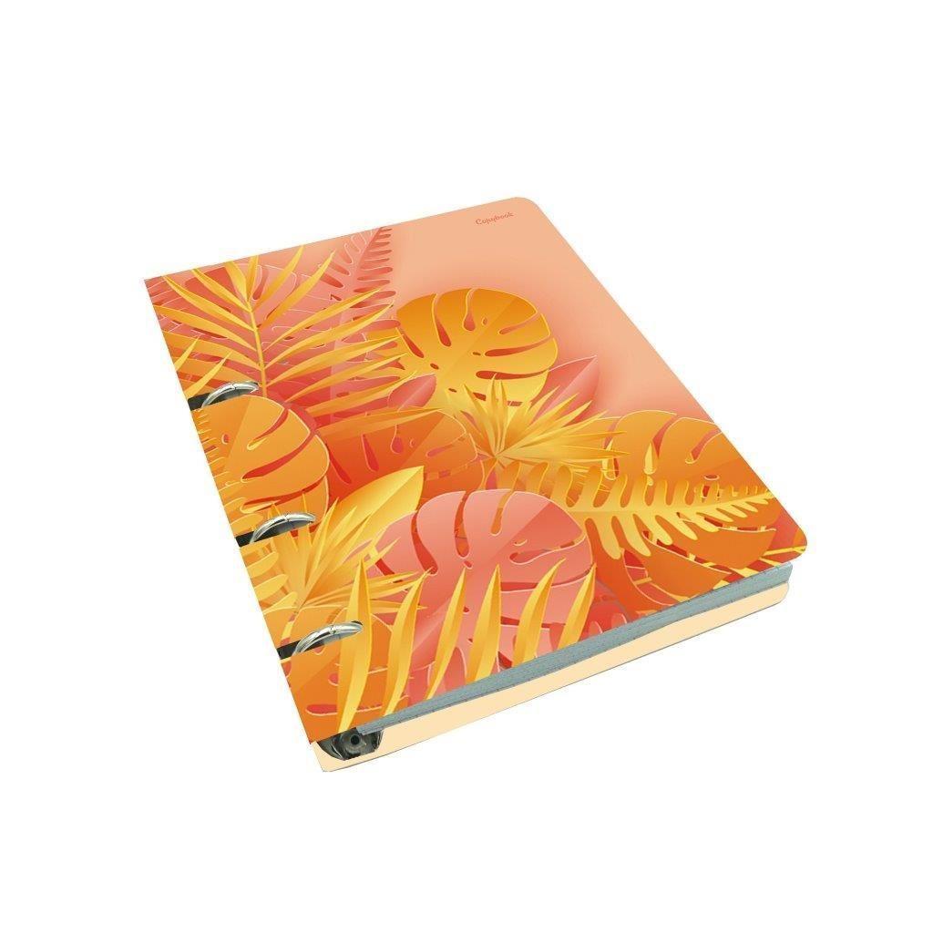 Тетрадь со сменным блоком 100 л., А5, клетка, ЛИСТЬЯ, soft touch, фольга, на кольцах