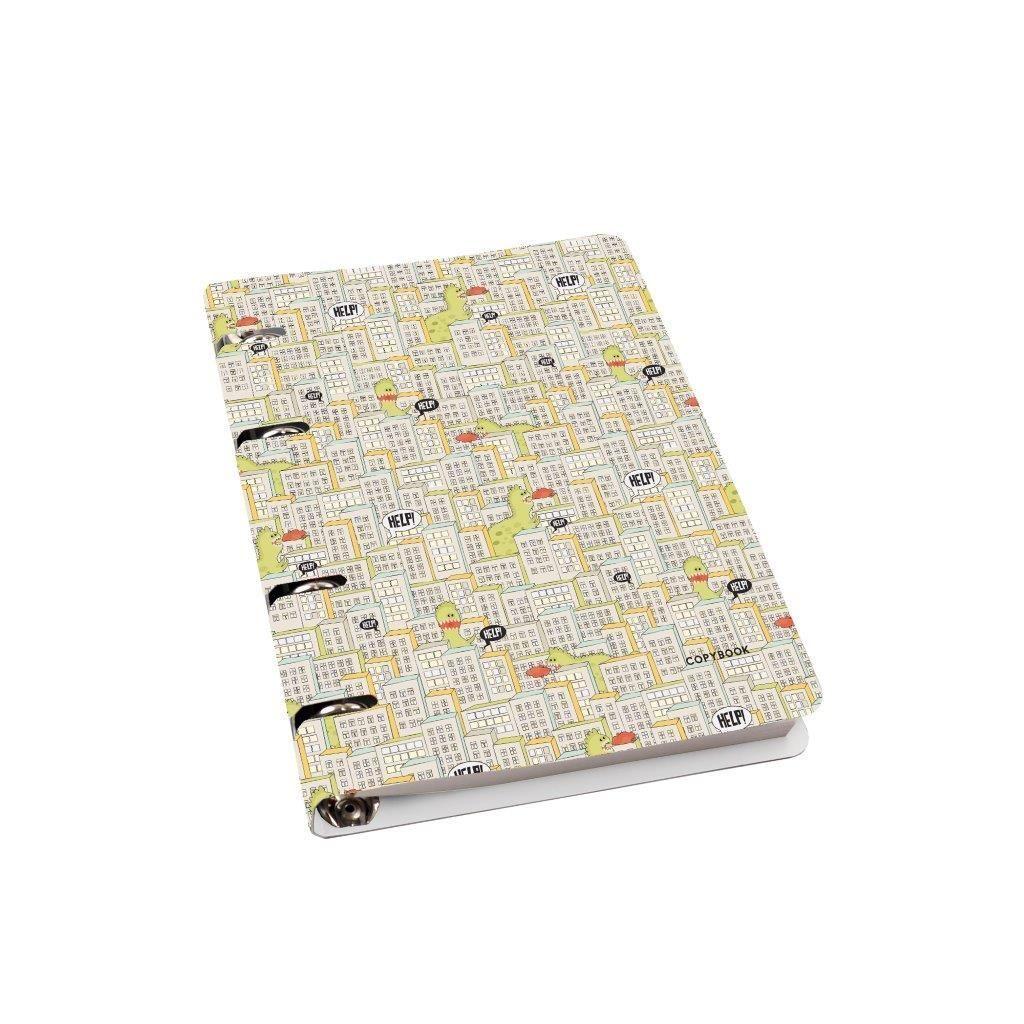 Тетрадь со сменным блоком 80 л., А5, клетка, ДИНОЗАВРЫ В ГОРОДЕ, мелованный картон, глянцевая ламинация, на кольцах