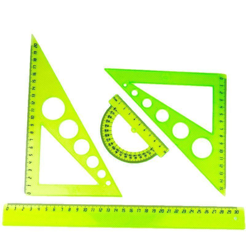 Набор геометрический, 4 предмета, большой, пластик, ассорти