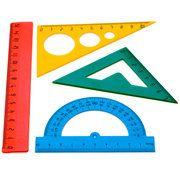 Набор геометрический, 4 предмета, малый, пластик, ассорти