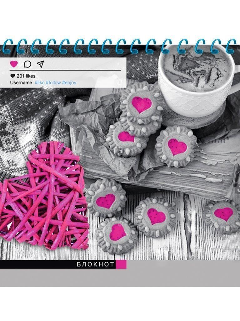 Блокнот А6, 40 л., клетка, ЯРКИЕ ДЕТАЛИ, спираль, мелованная обложка
