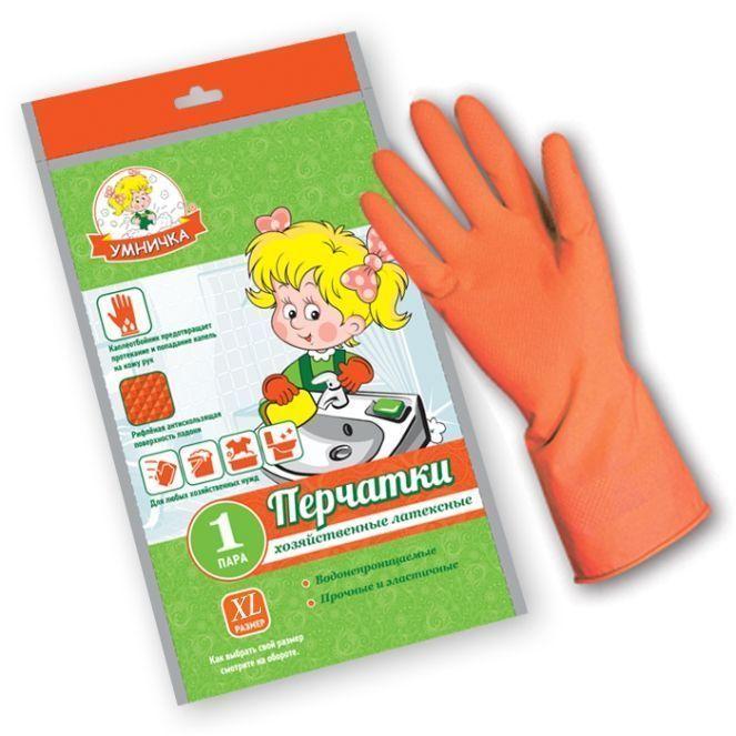 Перчатки хозяйственные латексные «Умничка», размер XL