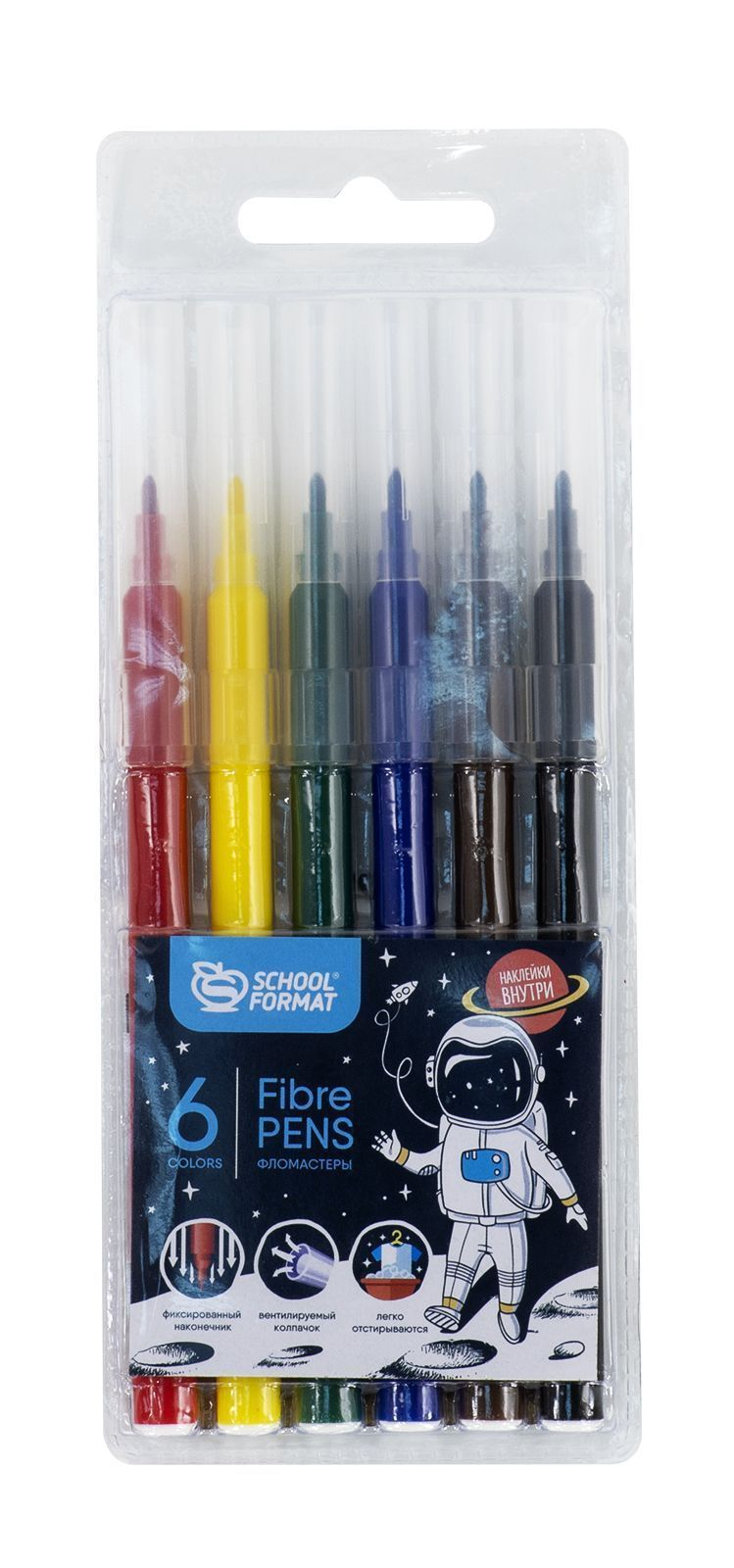 Фломастеры schoolФОРМАТ SPACE ADVENTURE 6 цветов, блистер, круглый корпус, стандартные