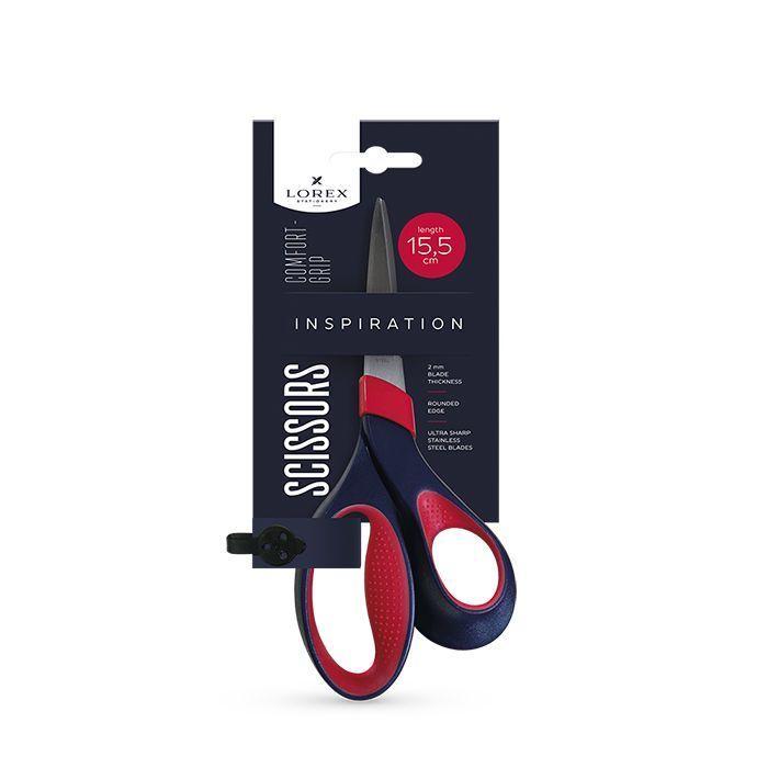 Ножницы LOREX COMFORT-GRIP INSPIRATION 155 мм, с эргономичными прорезиненными ручками, черно-красные