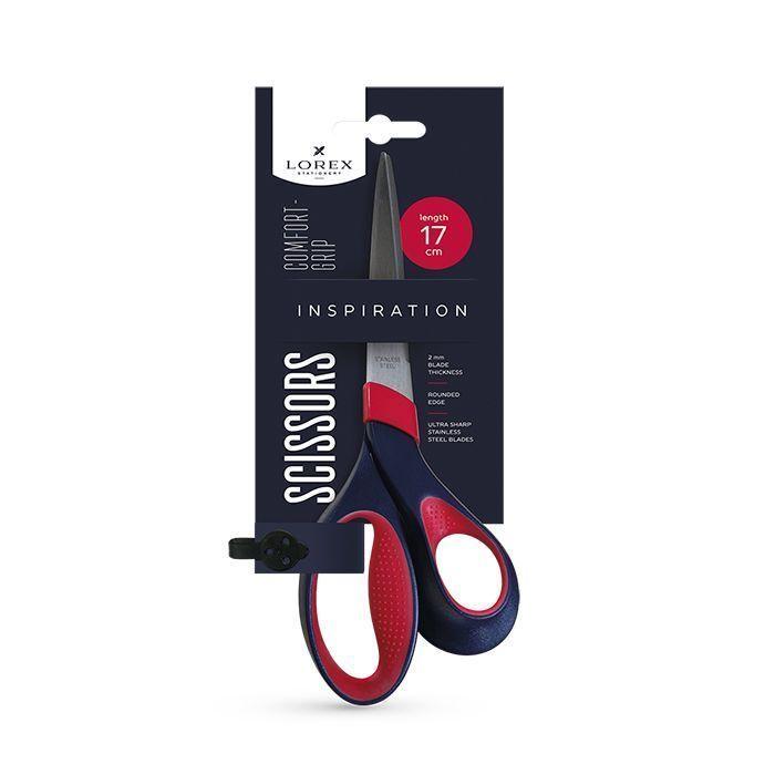 Ножницы LOREX COMFORT-GRIP INSPIRATION 170 мм, с эргономичными прорезиненными ручками, черно-красные