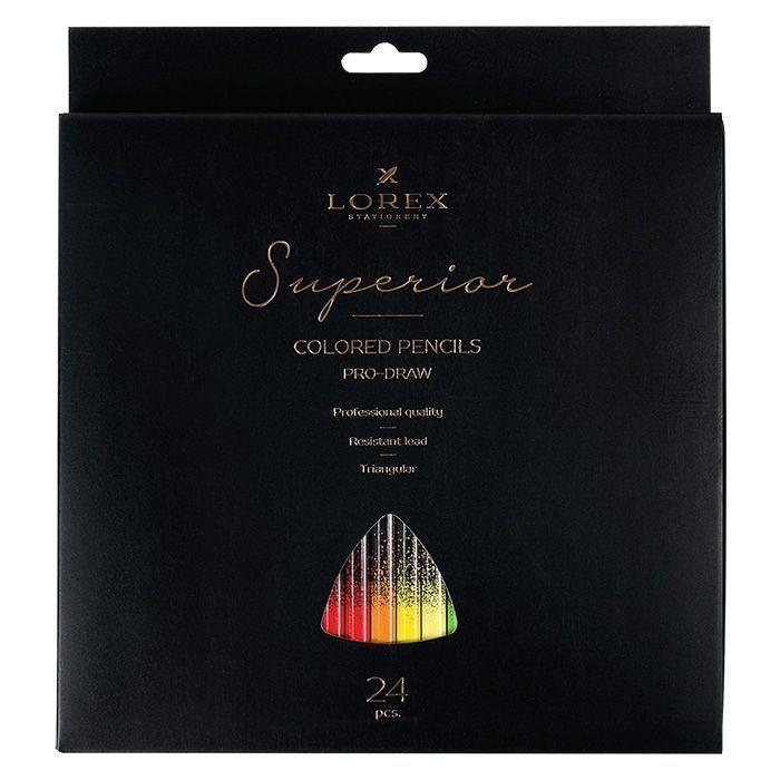 Набор цветных карандашей LOREX PRO-DRAW Superior 24 цвета трехгранные