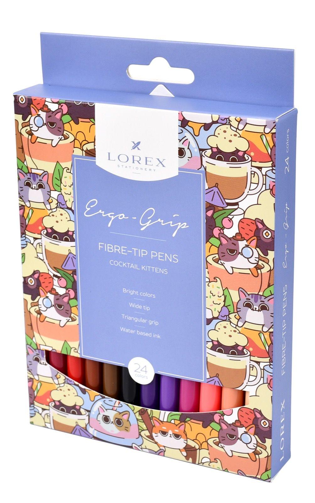 Фломастеры LOREX ERGO-GRIP COCKTAIL KITTENS 24 цв. с трехгранным захватом