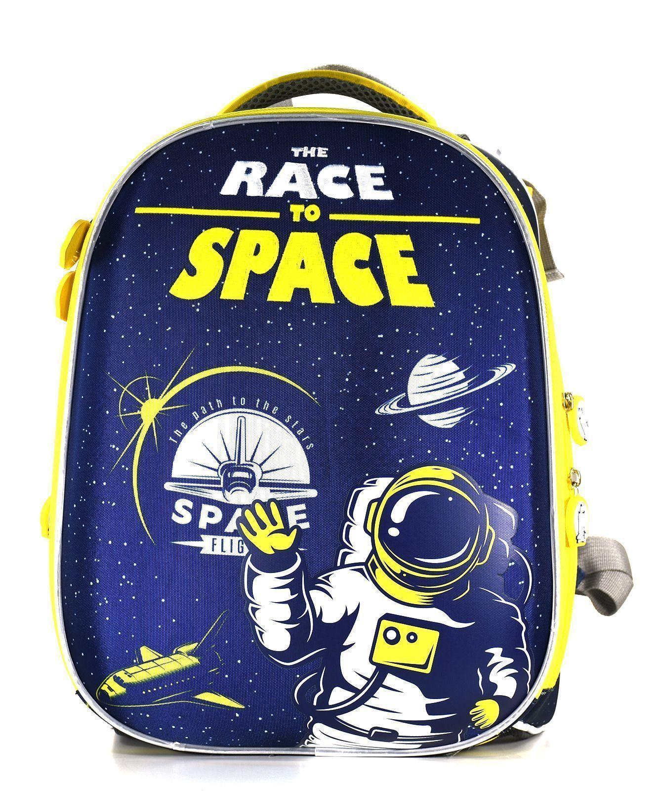 Рюкзак Schoolformat Race to space, модель ERGONOMIC+, жесткий каркас, двухсекционный, 38х30х18 см, 17 л, для мальчиков