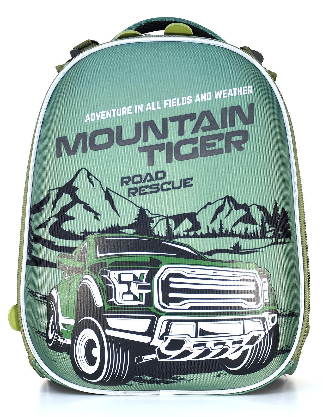 Рюкзак Schoolformat Mountain tiger, модель ERGONOMIC+, жесткий каркас, двухсекционный, 38х30х18 см, 17 л, для мальчиков