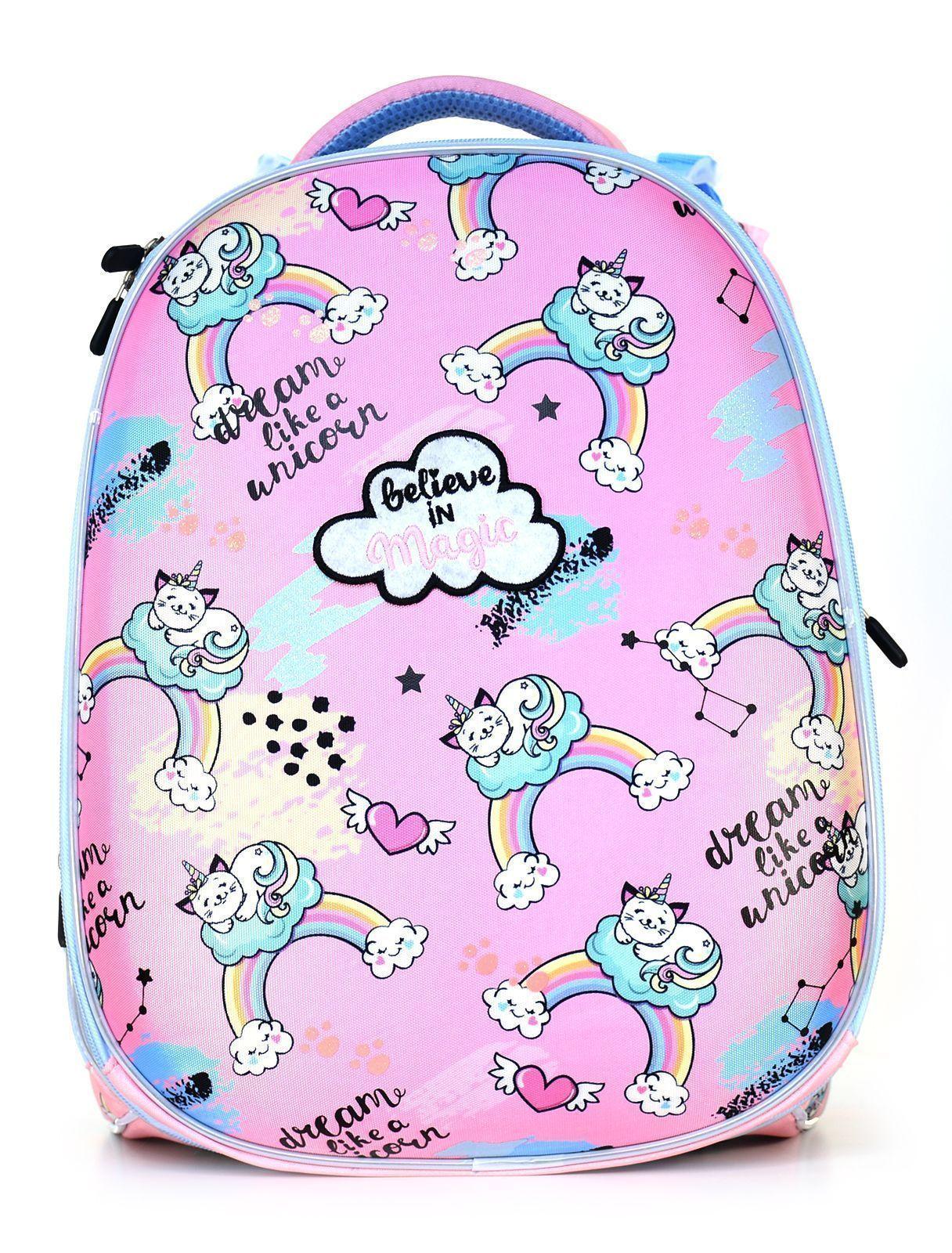 Рюкзак Schoolformat Rainbow magi, модель ERGONOMIC+, жесткий каркас, двухсекционный, 38х30х18 см, 17 л, для девочек