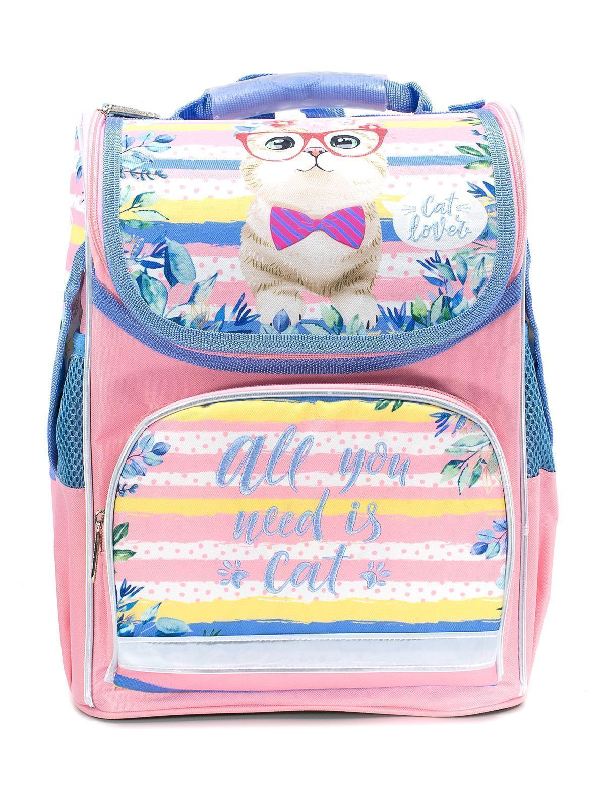 Рюкзак Schoolformat Sweet Kitty, модель BASIC, жесткий каркас, односекционный, 38х28х16 см, 15 л, для девочек