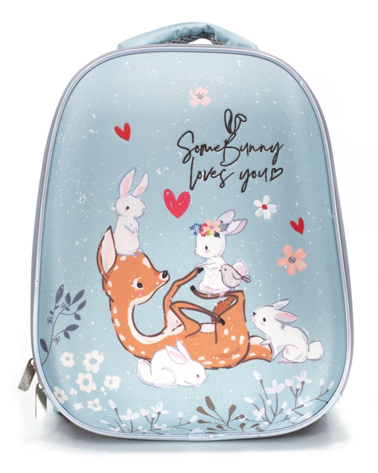 Рюкзак Schoolformat Deer and bunny, модель ERGONOMIC LIGHT, жесткий каркас, двухсекционный, 38х30х18 см, 17л, для девочек