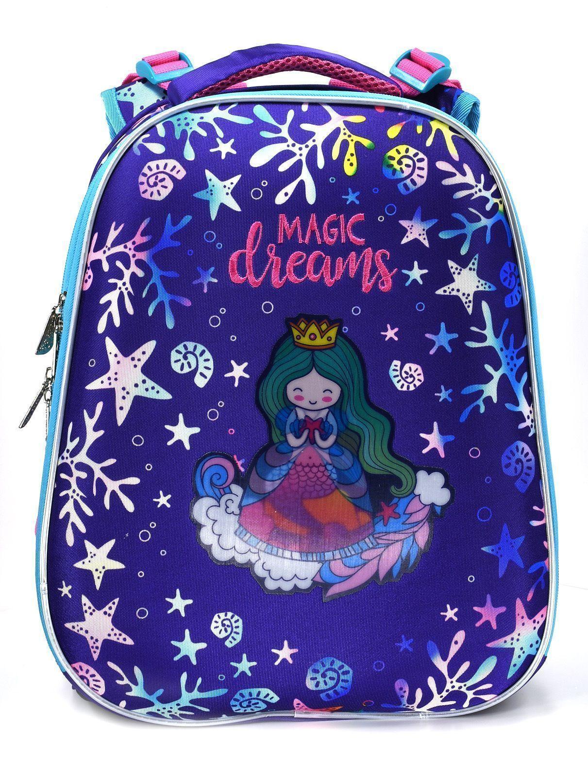 Рюкзак Schoolformat Princess-mermaid, модель ERGONOMIC 2, жесткий каркас, двухсекционный, 38х29х18 см, 17 л, для девочек