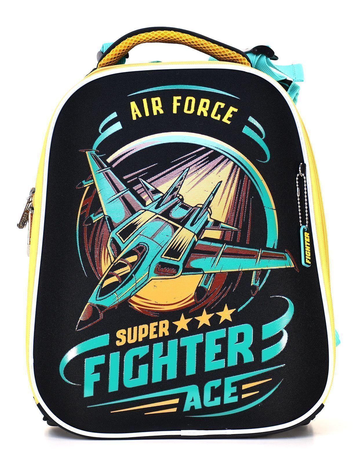 Рюкзак Schoolformat Sky force, модель ERGONOMIC 2, жесткий каркас, двухсекционный, 38х29х18 см, 17 л, для мальчиков
