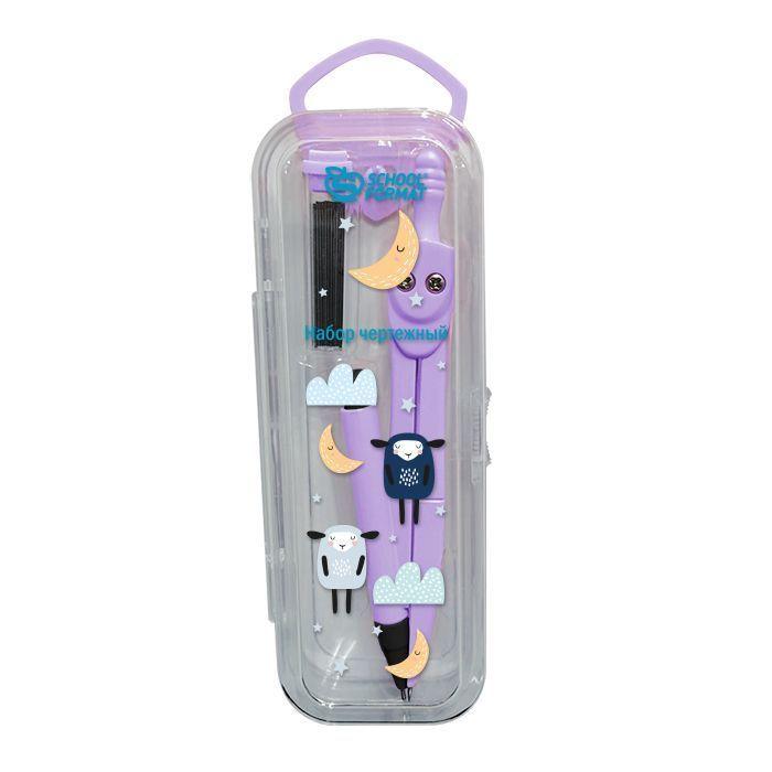 Набор чертежный Schoolformat «Милый принт» с автоматическим карандашом,ассорти