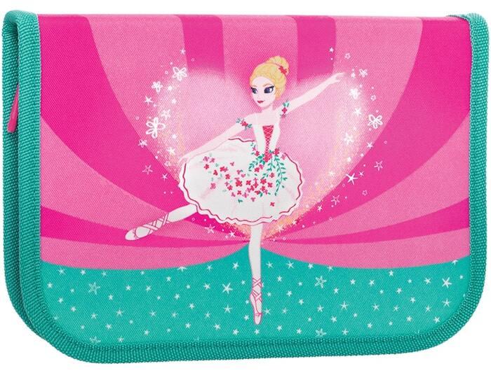 Пенал 1 секционный TIGER BALLERINA 13,5х19,5х3 см 23 пр ткань молния для девочек