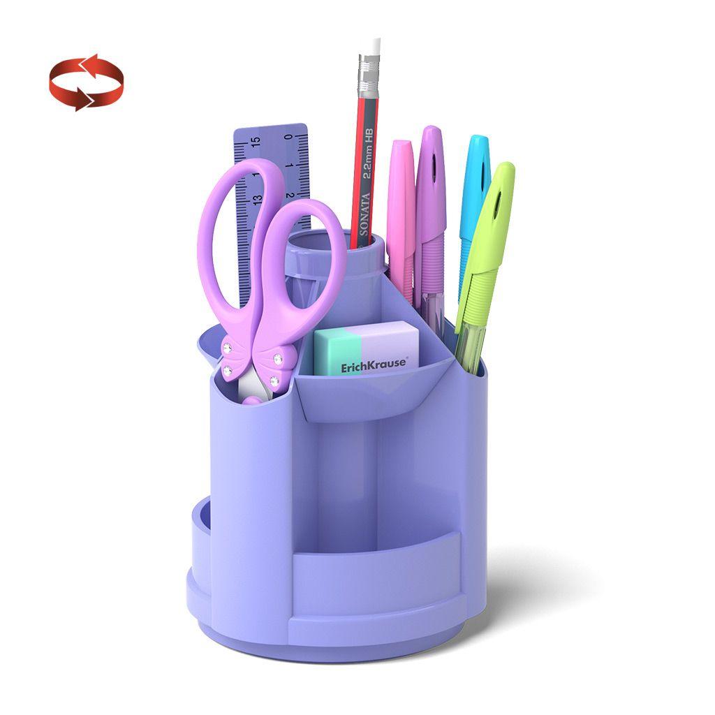 Настольный набор ErichKrause MINI DESK PASTEL вращающийся 8 предметов фиолетовый пластик