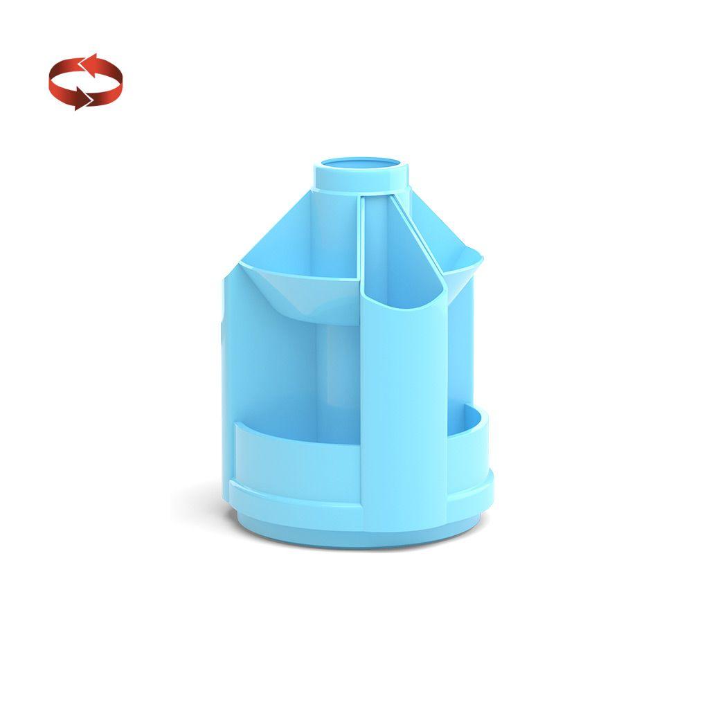 Подставка для канц ErichKrause MINI DESK PASTEL 10 отделений вращающийся голубой пластик