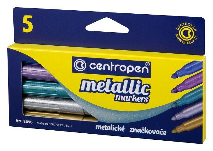 Набор специальных маркеров CENTROPEN METALLIC 2-3 мм 5 цветов