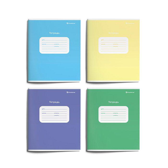 Тетрадь Schoolformat 12 листов, крупная клетка, ОДНОТОННЫЕ мелованный картон, ВД-лак