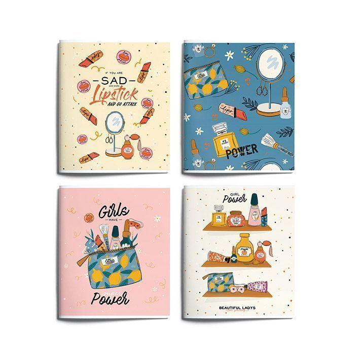 Тетрадь Schoolformat 96 листов, клетка, скрепка, GIRL MOOD А5 мелованный картон, матовая ламинация, выборочный Уф-лак, офсет