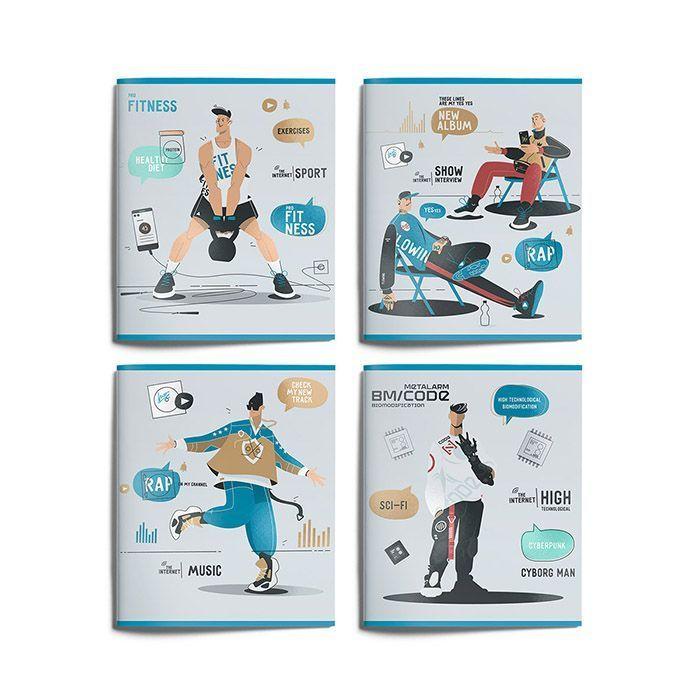 Тетрадь Schoolformat 96 листов, клетка, скрепка, БУДУЩЕЕ В СОЦСЕТЯХ А5 мелованный картон, выборочный УФ-лак, офсет