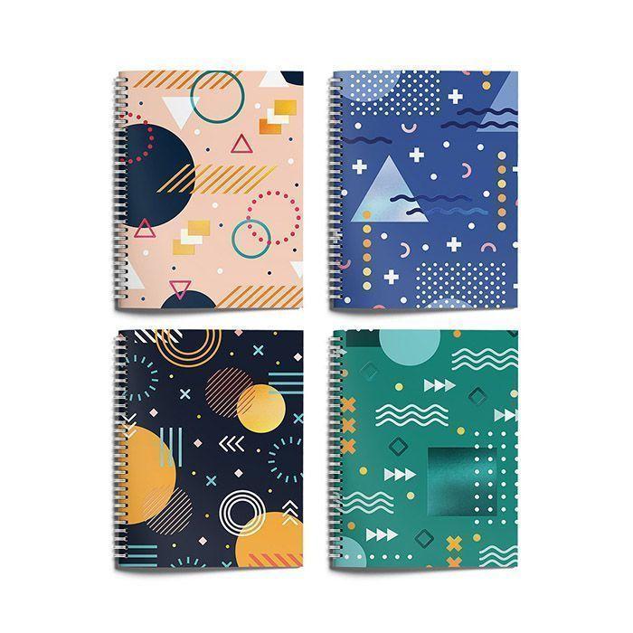 Тетрадь Schoolformat 96 листов, клетка, гребень, СОВРЕМЕННАЯ ГЕОМЕТРИЯ А5 мелованный картон, матовая ламинация, выборочный УФ-лак, офсет