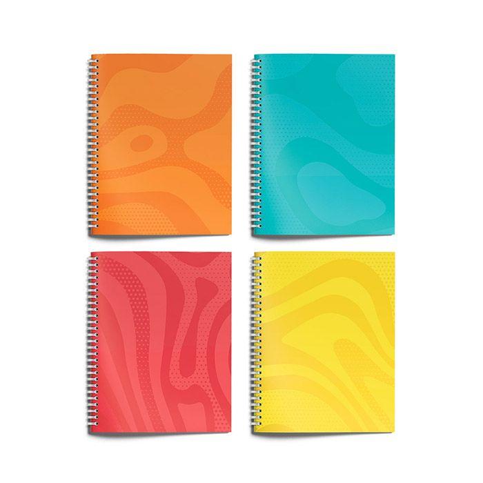 Тетрадь Schoolformat 96 листов, клетка, гребень, ОДНОТОННЫЕ ТЕКСТУРЫ А5 мелованный картон, сплошной Уф-лак, офсет