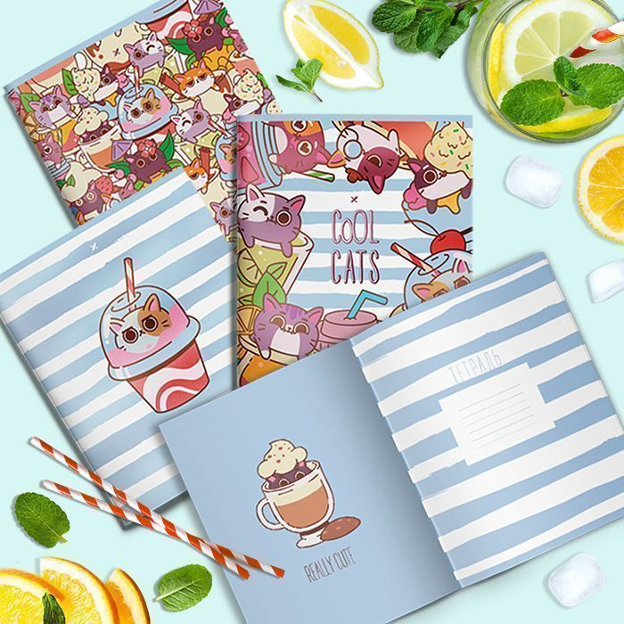 Тетрадь LOREX 48 л, клетка, скрепка, COCTAIL KITTENS А5,мелованный картон, soft touch лак, выборочный лак, офсет, двойная обложка, запечатан