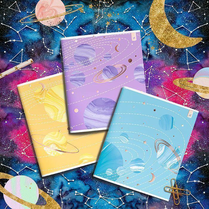 Тетрадь LOREX 48 л, клетка, скрепка, MARBLE SHINE А5,мелованный картон, soft touch лак, фольга, золото, офсет, двойная обложка, запечатаный