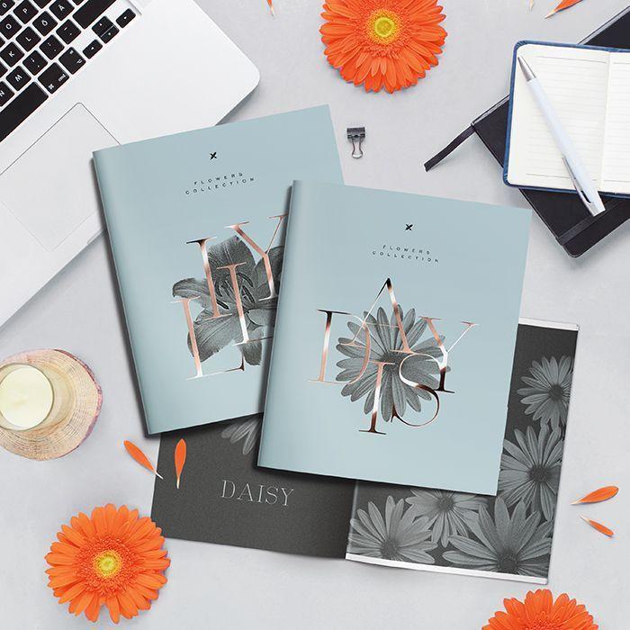 Тетрадь LOREX 48 л, клетка, скрепка, MONOCHROME FLOWERS А5,мелованный картон, soft touch лак, фольга, розовый, офсет, двойная обложка, запеч
