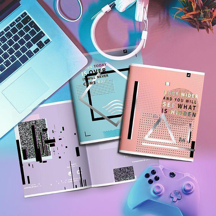 Тетрадь LOREX 48 л, клетка, скрепка, HOLOGRAPHIC CHAOS А5,мелованный картон, soft touch лак, фольга, серебряный, офсет, двойная обложка, зап