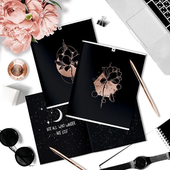 Тетрадь LOREX 48 л, клетка, скрепка, ONE TONE Flowers in shapes А5,мелованный картон, soft touch лак, фольга, розовый, офсет, двойная обложк